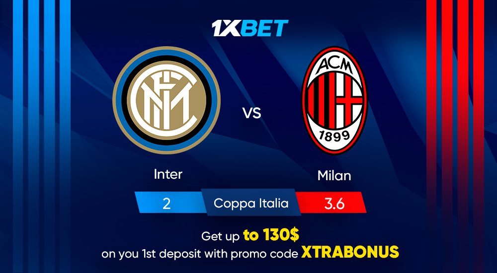 """Inter and AC Milan will face for the second time this season. And a spot in the semi-finals of the #CoppaItalia at stake today. Who will go forward?   Get up to 130$ on your first deposit! Use promo code """"XTRABONUS"""" at register  Place your bets! https://t.co/FenAmbkhmW https://t.co/TFExjM8o13"""