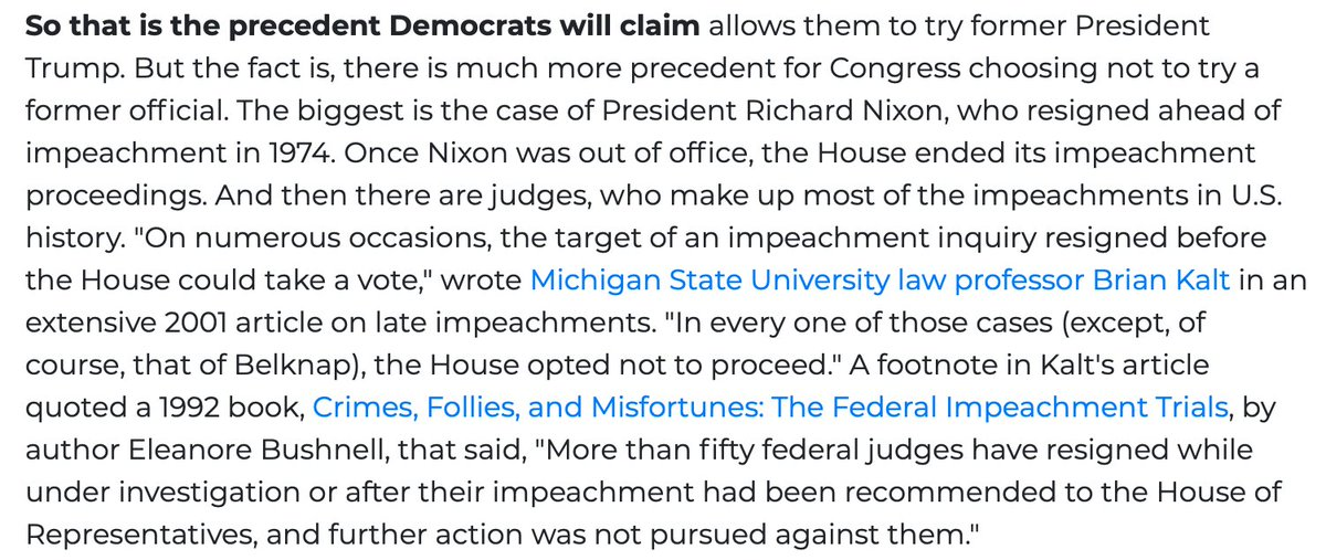 The precedent, such as it is, rests almost entirely on the Belknap case. But there are dozens of precedents in which Congress chose not to pursue officials who resigned at some stage in the impeachment or pre-impeachment process. https://t.co/kbkkaLIwap  https://t.co/AFoD8X9dRv https://t.co/raBhySZGoj