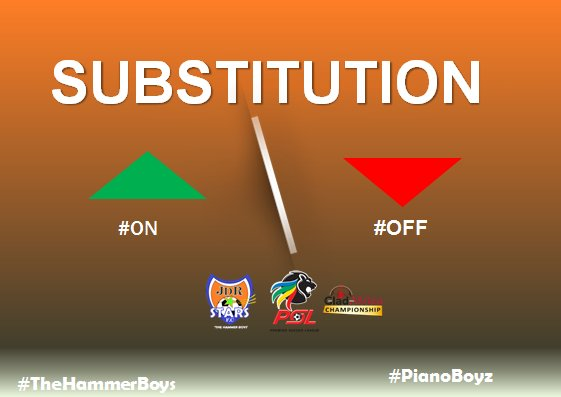 Double Substitution:  Elias Monene #OFF Mziwokuthula Zimu #ON  Tebogo Mabula #OFF Bafana Kali #ON  #PianoBoyz