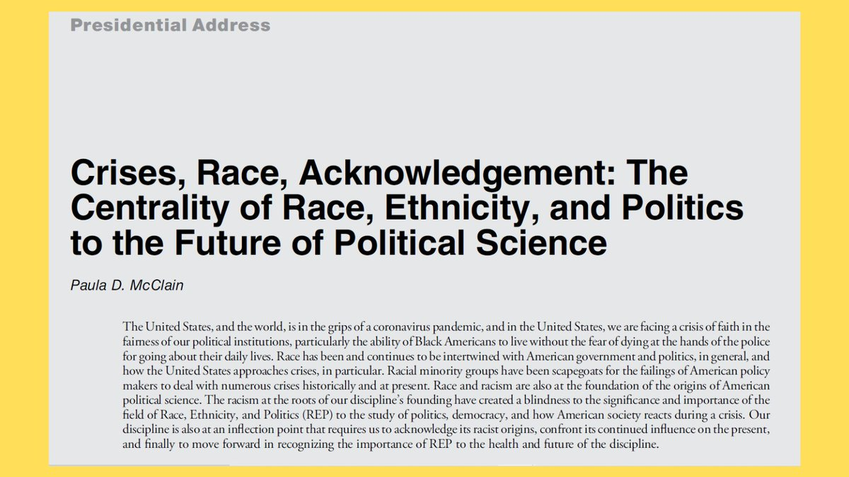 #APSA #PRESIDENTIAL #ADDRESS:  Crises, Race, Acknowledgement: The Centrality of #Race, #Ethnicity, & #Politics to the Future of #Political #Science  By Paula D. McClain    #FirstView @APSAtweets