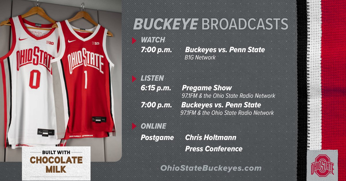 Buckeye Broadcasts 🌰🏀 vs. Penn State  🗓 January 27th ⏰ 7:00 p.m. ET 📺 B1G Network 📻 @971TheFan  ✚   #GoBuckeyes | @adamideast