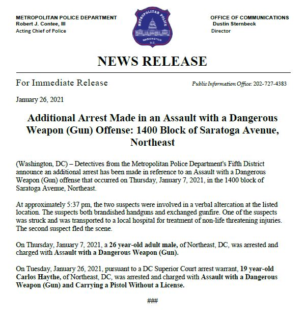 MPD announces an additional arrest has been made in an Assault with a Dangerous Weapon (Gun) offense that occurred on 1/7/21 in the 1400 block of Saratoga Avenue, NE. Have info? Call (202) 727-9099/text 50411 Release: bit.ly/39lpIdo