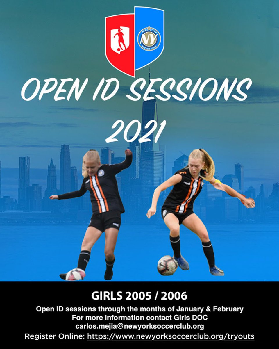 Opened ID sessions for girls born 2005/2006  For more information contact girls DOC - Carlos.mejia@newyorksoccerclub.org  Or visit our website at   #newyorksoccerclub #nysc #newyork #soccer #football #nyc #newyorksoccer #eliteacademy #girlsacademy #uswnt