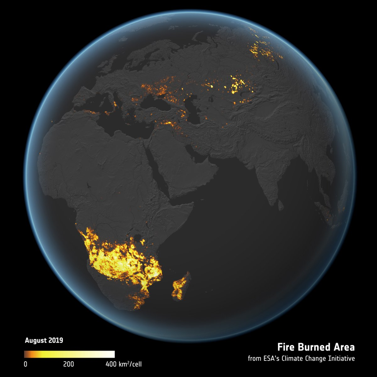 A new global view of land burned by fire is now available👇 The long-term dataset has been produced by @esaclimate scientists - it might help us better understand how aerosols/greenhouse gasses emitted by fires are affecting our climate. Full report at: esa.int/Applications/O…