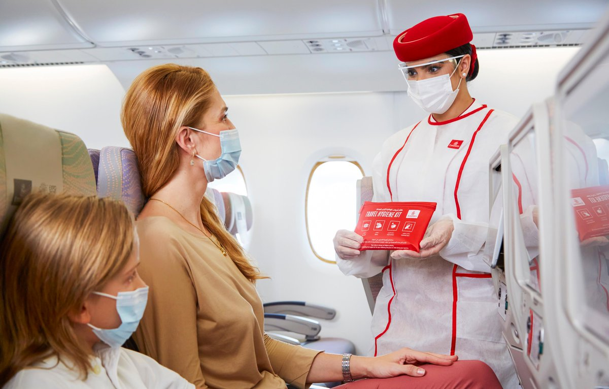 Your safety is our priority. If you're flying with us, we provide travel hygiene kits to protect yourself & everyone you're flying with.  For information on our health and safety measures, visit    #FlySaferWithEmirates