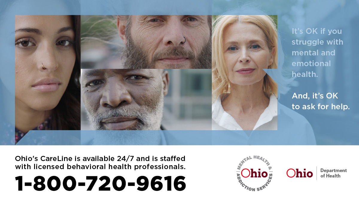 The @OhioMHAS CareLine is Ohio's free emotional support call service. Behavioral health professionals staff the CareLine 24 hours a day, 7 days/week. Call 1-800-720-9616 to connect. #InThisTogetherOhio