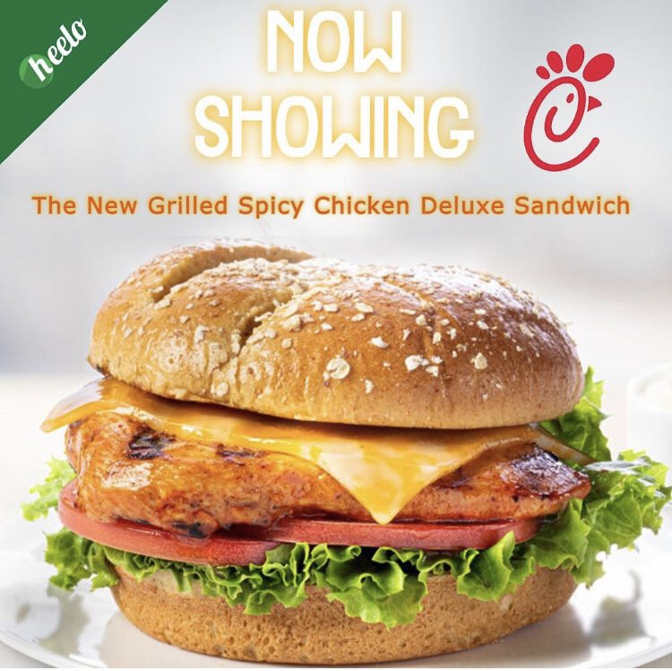 Try the new @ChickfilA Grilled Spicy Deluxe Sandwich!   #chicken #chickfila #lunch #lockdown #app #heeloapp #usa  For more daily restaurant #deals, download the #Heelo App:  #AppleStore:     #GooglePlay: