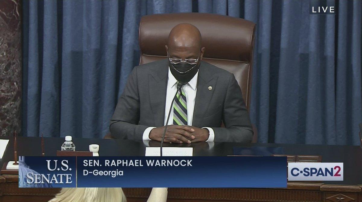 Sen. Raphael Warnock (D-GA) presiding over the U.S. Senate this morning... https://t.co/Gfo9GQwTTK