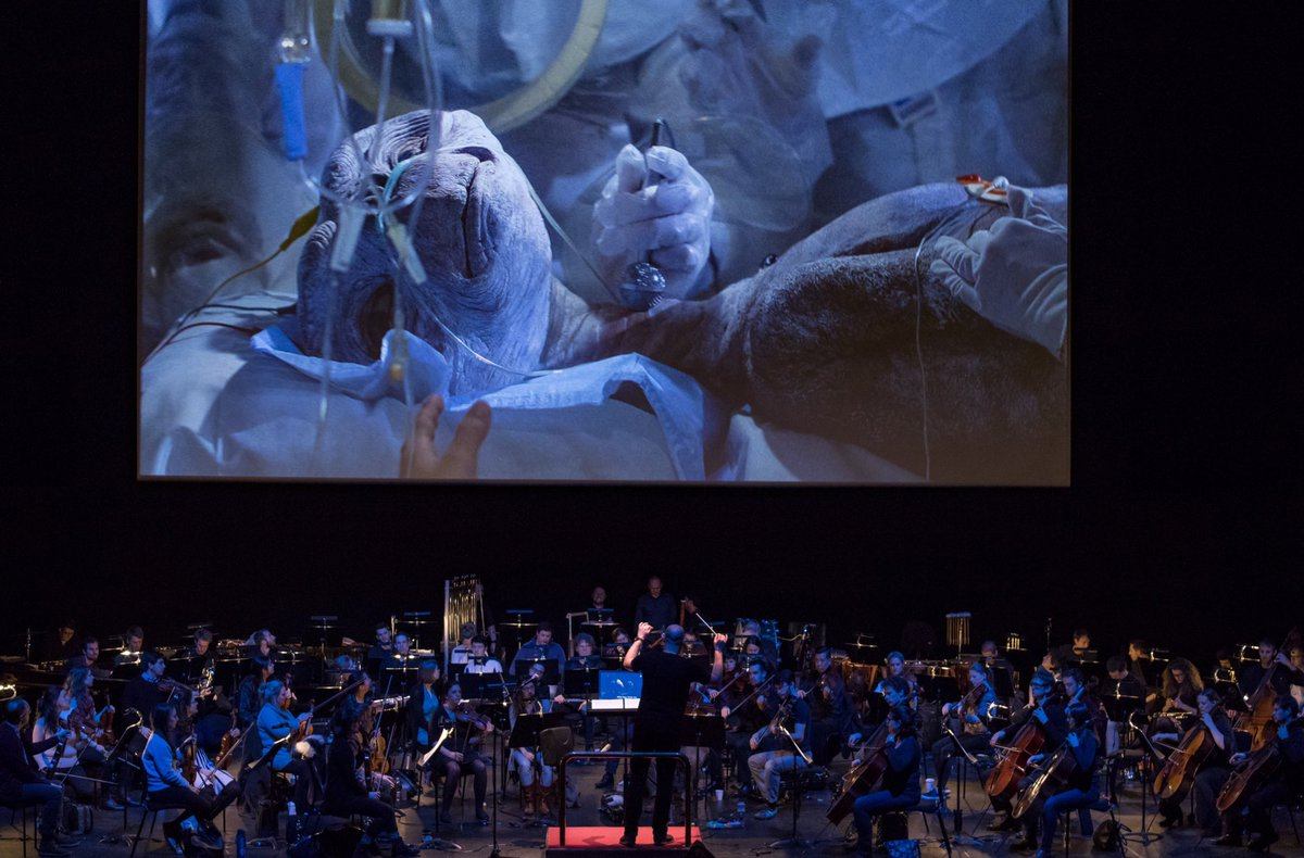 E.T. the Extra-Terrestrial in Concert, three years ago yesterday, with my beloved (& largest ever) @cgsinfonia, at @southbankcentre. An experience and an audience reaction that I'll never forget. @IMGArtistsUK @FilmConLive