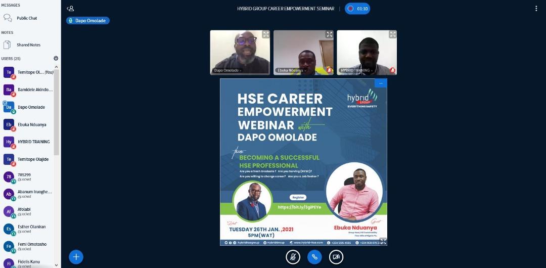 We're LIVE! Hybrid Group HSE CAREER EMPOWERMENT WEBINAR (January edition). 💪🏽💃🏽🥳🎉⛑️👷🦺 #MondayMotivation #careerdevelopment #empowerment