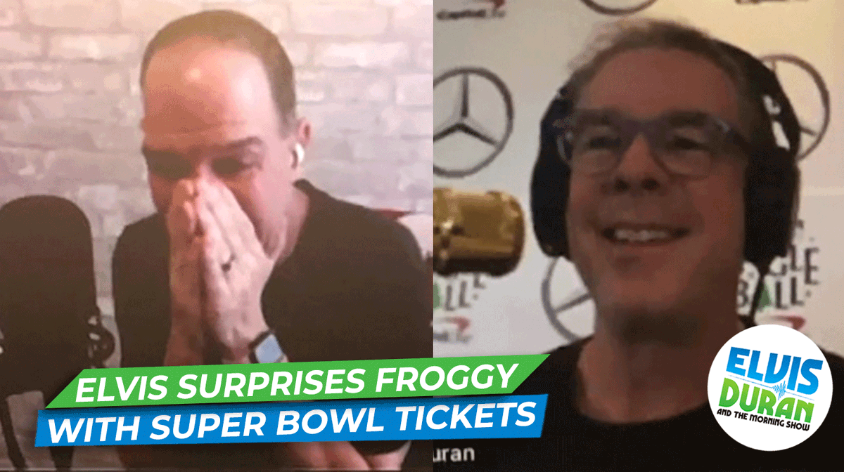 .@elvisduran surprised @froggyradio and his son with tickets to #SuperBowlLV!!!!! 😱😍   Watch the incredible moment here: