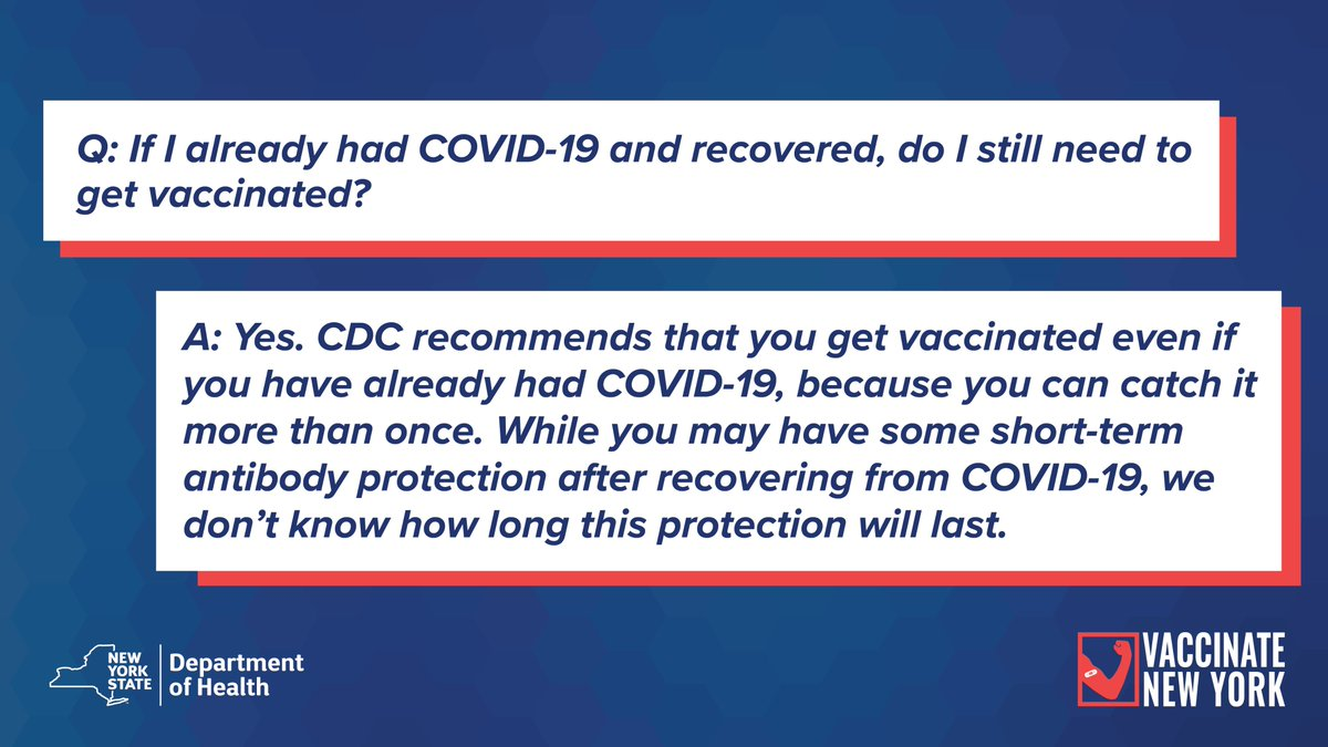 Did You Know: The CDC recommends that people who had #COVID & recovered still get the vaccine.  As we wait for more supply, get the facts you need to be ready when the vaccine is available to you.  See all the vaccine FAQs at
