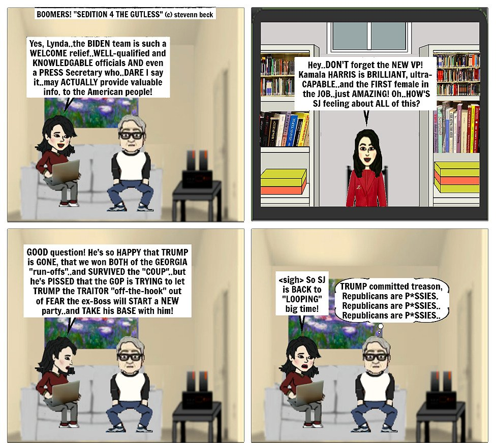"""Today's BOOMERS! (c)stevenn beck """"SEDITION 4 THE GUTLESS"""" Follow BOOMERS! on FB-Twitter-IG #nohate #justice #TrumpOut #freedomofreligion #science #LGBTQ  #love #actor #Equality #Truth #friends #Resistance #TrumpCoupAttempt #FreedomOfSpeech #sleep #ImpeachTrump #ImpeachTrumpNow"""