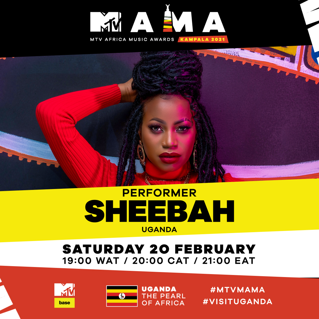 We're SOOOO excited to have @Ksheebah1 join our #MTVMAMA line-up! 🎉   Don't miss it the virtual LIVE show coming to you from the virtual stage in Uganda, the Pearl of Africa.🖤🎉on February 20! 🌠#VisitUganda