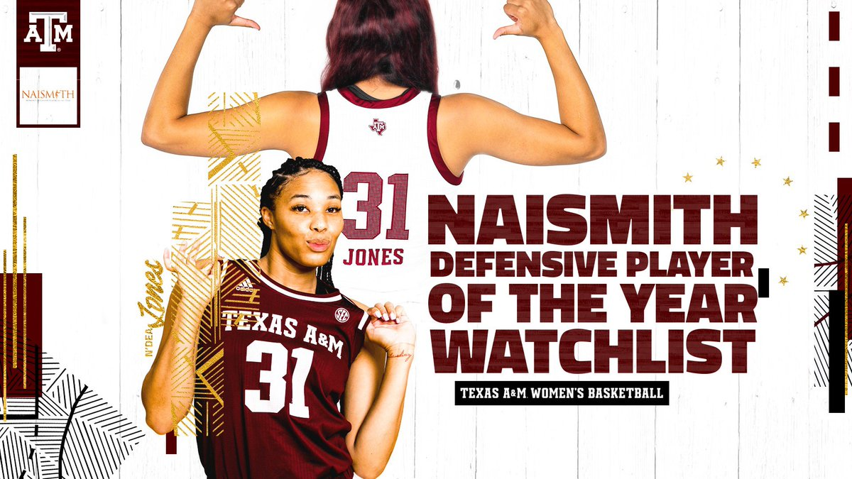 It all starts on the defensive end 😤 @NdeaJones was named to the Naismith Defensive Player of the Year Watch List! #GigEm | @NaismithTrophy