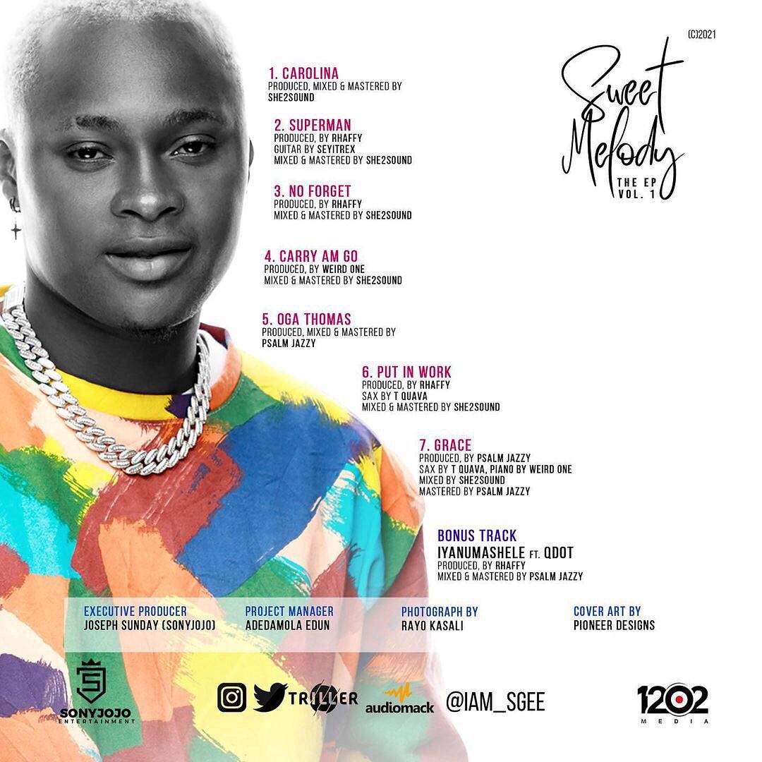 Check out the official track list for my EP. #SweetMelody THE EP Out Dis Weekend. Wait on it  #tuesdayvibe  #theep  #sgeenoforget  #iyanumashelebysgee #sweetmelody #SJE