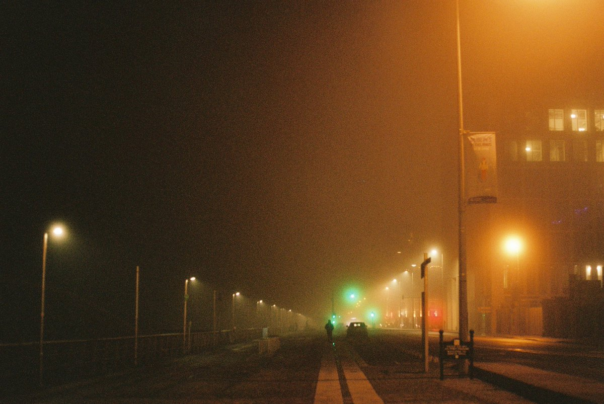 Look carefully and you'll see a human. . #fog #dublin #35mm #portra400 #contaxRTS #Yashica50mm #spooky #port #silhouette #night #Winter