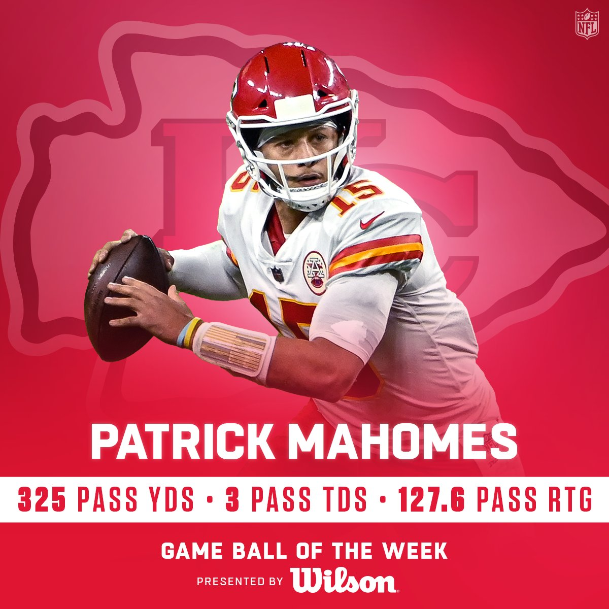 The game ball of Championship Sunday goes to @PatrickMahomes! 🏆 (by @WilsonFootball)  @Chiefs   #RunItBack