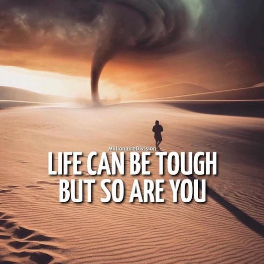 """""""Life can be tough but so are you.""""💪  #Wisdom #LifeLessons #InspirationalQuotes #MotivationalQuotes #MentalHealth #StriveForGreatness #Success #Mindfulness #Mindset #MindsetIsEverything #Choice #YouGotThis #TuesdayVibe #TuesdayMotivations #PositiveVibes #GoodVibes #Consciousness"""