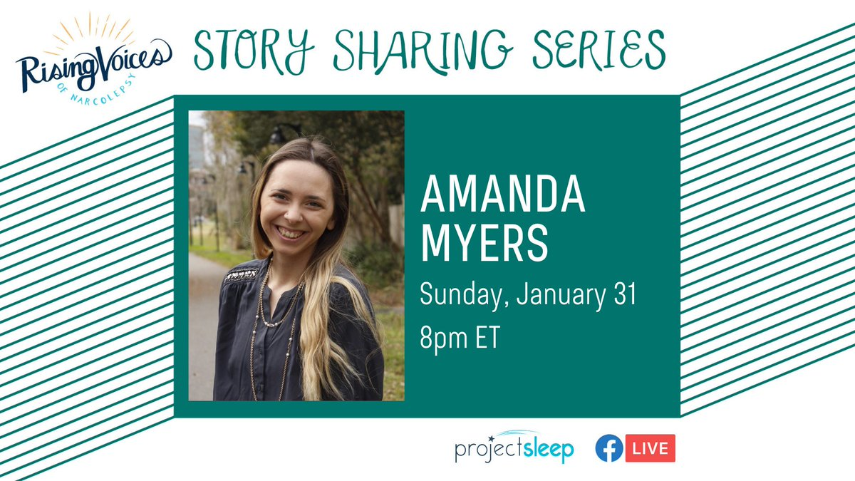#StorySharing continues this Sunday, 1/31 at 8pm ET with #RisingVoicesofNarcolepsy speaker, olympic weightlifter, and future veterinary neurologist Amanda! Tune in to Amanda's #narcolepsy story LIVE on Project Sleep's Facebook page.  Learn more and share: