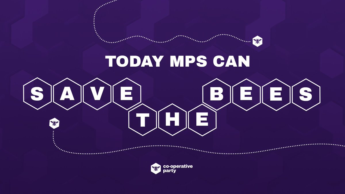 As you might have noticed from our logo, we quite like bees. 🐝 But bees arent just a symbol of the co-op movement. They are essential to our ecosystem and food chain, and thats why @CoopParty MPs are standing against bee-killing pesticides in Parliament today. #SaveTheBees