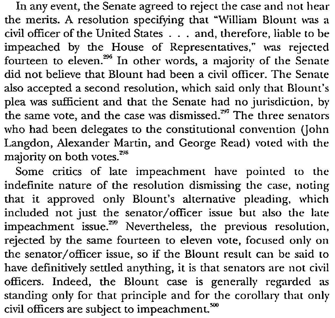 Sorry. It appears that the Blount case established that senators are not 'civil officers' and thus not subject to impeachment. (A decision made by senators themselves, interestingly.)  https://t.co/d6XXSyM9AX  https://t.co/pfDgRl5Qmx https://t.co/FOnBhnS1k8