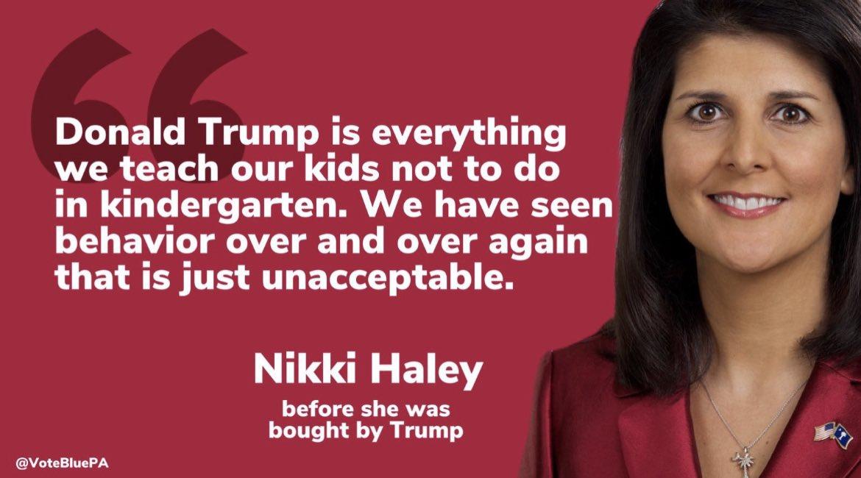 #MorningJoe @NikkiHaley is a HYPOCRITE