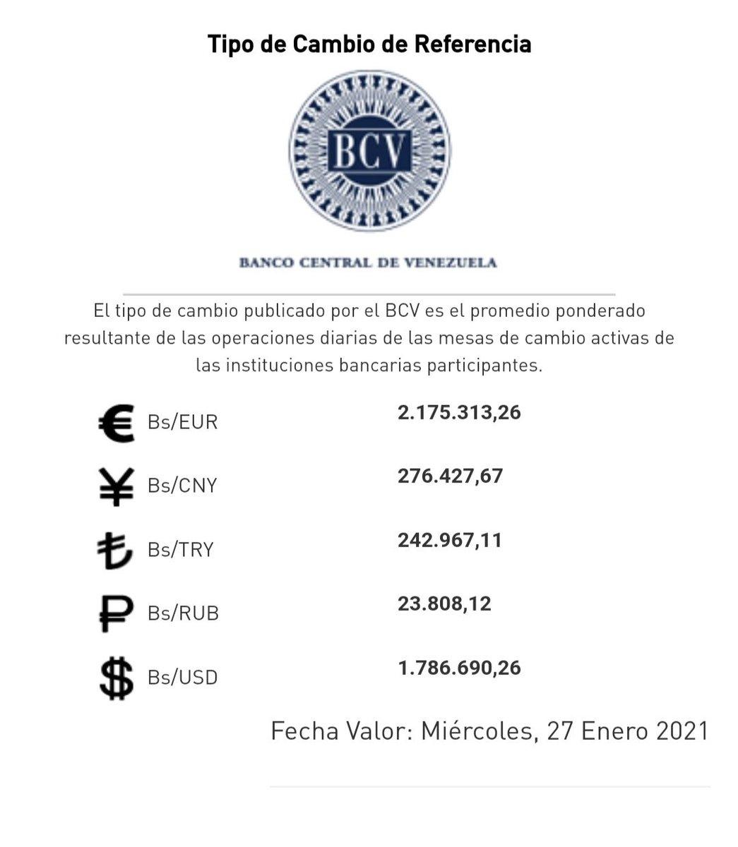 ENE 26-21 Atentos¡ A la caza del #Paralelo   SUBE la tasa Oficial BCV a 1.786.690,26 Bs x $ #ElVerdaderoDolarAsesinoBCV #ApasodeVencedores #Dolar #Euro #MonitorDolarCucuta #Dolarvzla #DolarToday #TasaPromedio #Divisas #Bitcoin #Venezuela #SoberanamenteDevaluado #PetroFiasco #BCV