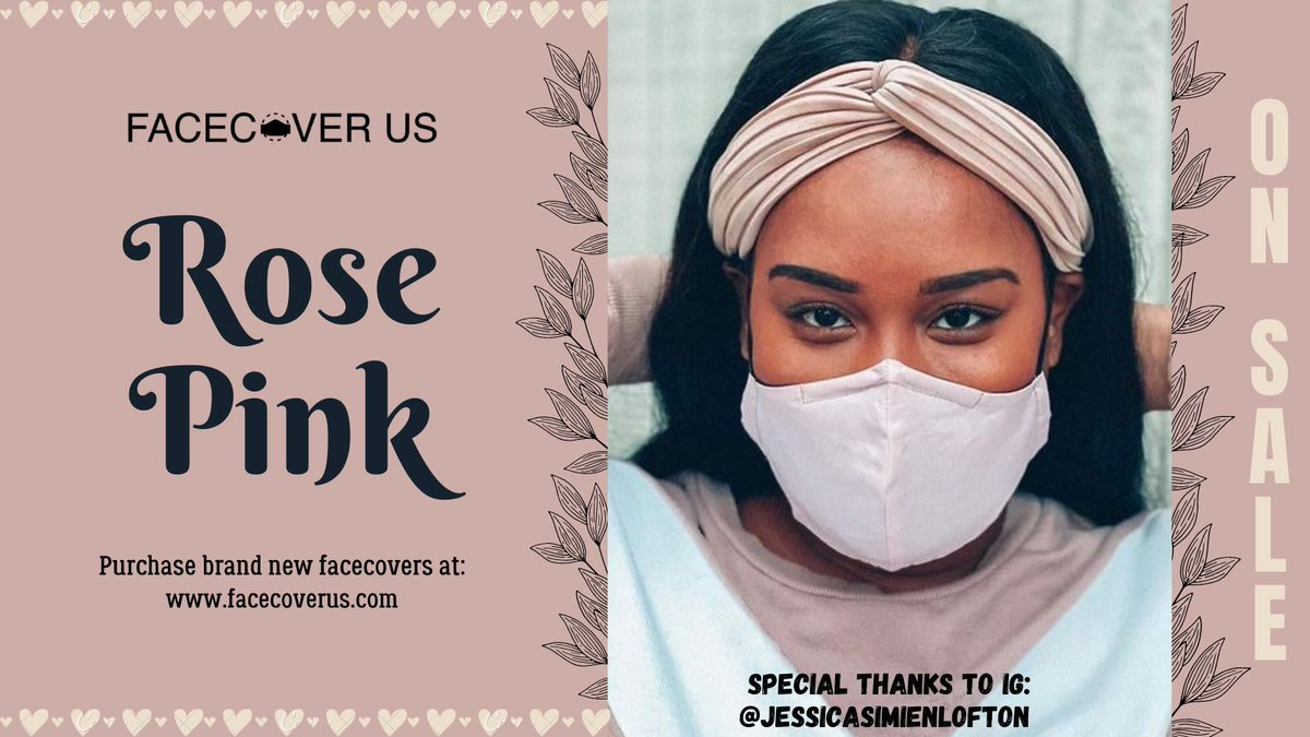 From IG: @jessicasimienlofton in Rose Pink 🌸  #facecover #facemasks #facecoverings #giftidea  #supportlocal #madeforyou #facecovers #HappyNewYear2021 #ValentinesDay #fashionable #FaceCoverUS #WearAMask