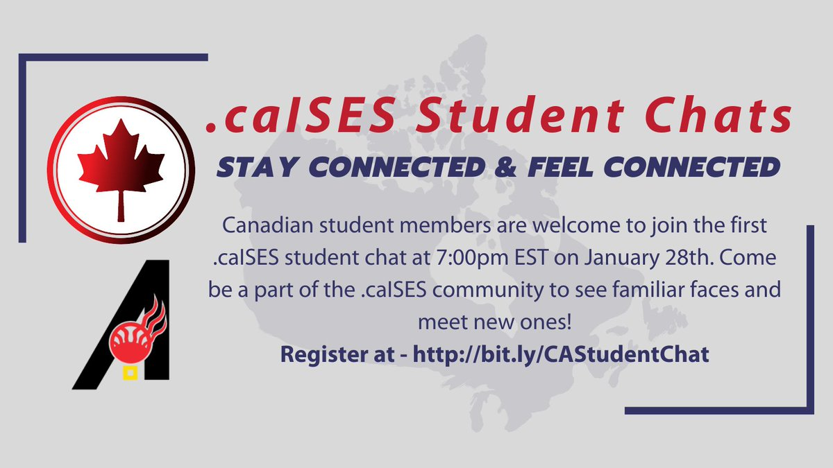 Canadian student members are welcome to join the first  @_caISES student chat at 7:00pm EST on January 28th. Come be a part of the community to see familiar faces and meet new ones!  #NativeTwitter #Indigenous #STEM #Canadian