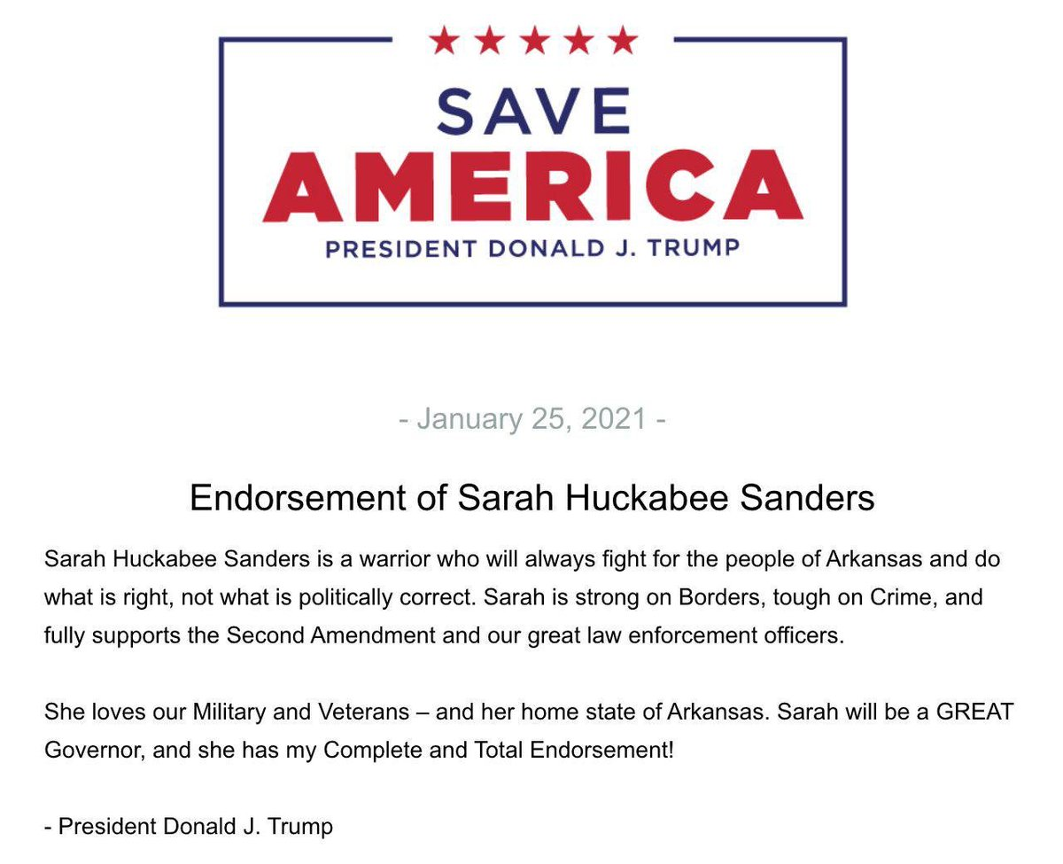 Trump endorses @SarahHuckabee — does this help or hurt—or is trump irrelevant to her chances?!