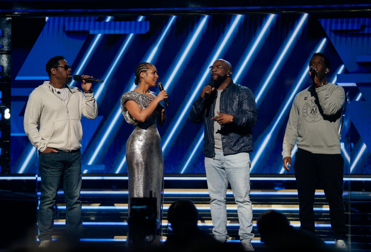 "One year ago today at the 62nd #GRAMMYs, members of the R&B group @boyziimen accompanied @aliciakeys in an a cappella version of ""It's So Hard To Say Goodbye To Yesterday"" to commemorate #KobeBryant's life and legacy. 💜💛"