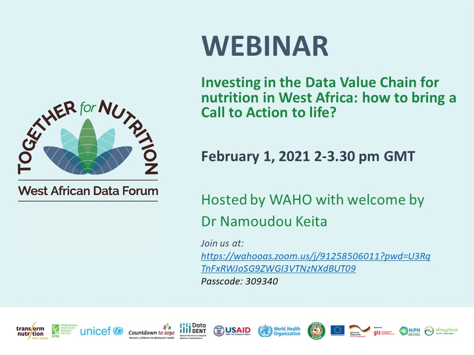 """Join @OoasWaho, @UNICEF & @IFPRI on 📅Feb 1🕑2-3:30 PM GMT for the webinar """"Data Value Chain for #Nutrition in West Africa: Bringing a call to action to life""""   DfN members can view more details here:   @TN_NutritionRPC"""