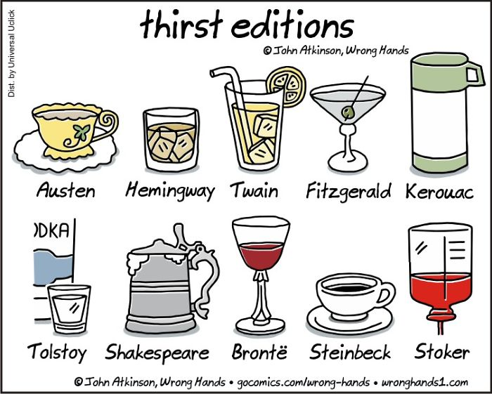 Thirst editions - drinks and books 👌 #cheers !   Favourite = Brontë 🍷 🍸🍹🥃🍺 ☕  #somethinglighthearted #readingforpleasure