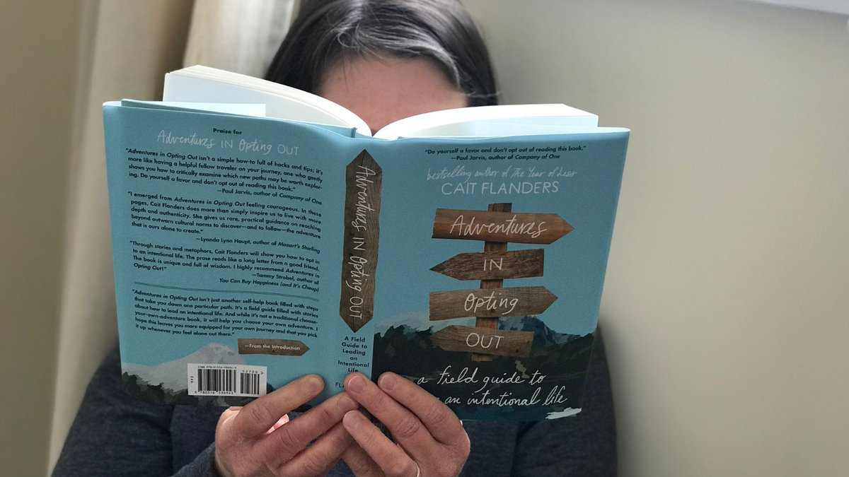Here's the latest from the @ReadBtwnLynes snow-day crew! Danielle is devouring Adventures in Opting Out by Cait Flanders.  #snowday #RBTLbookstore #indiebookstore #woodstockil #realreads #realwoodstock