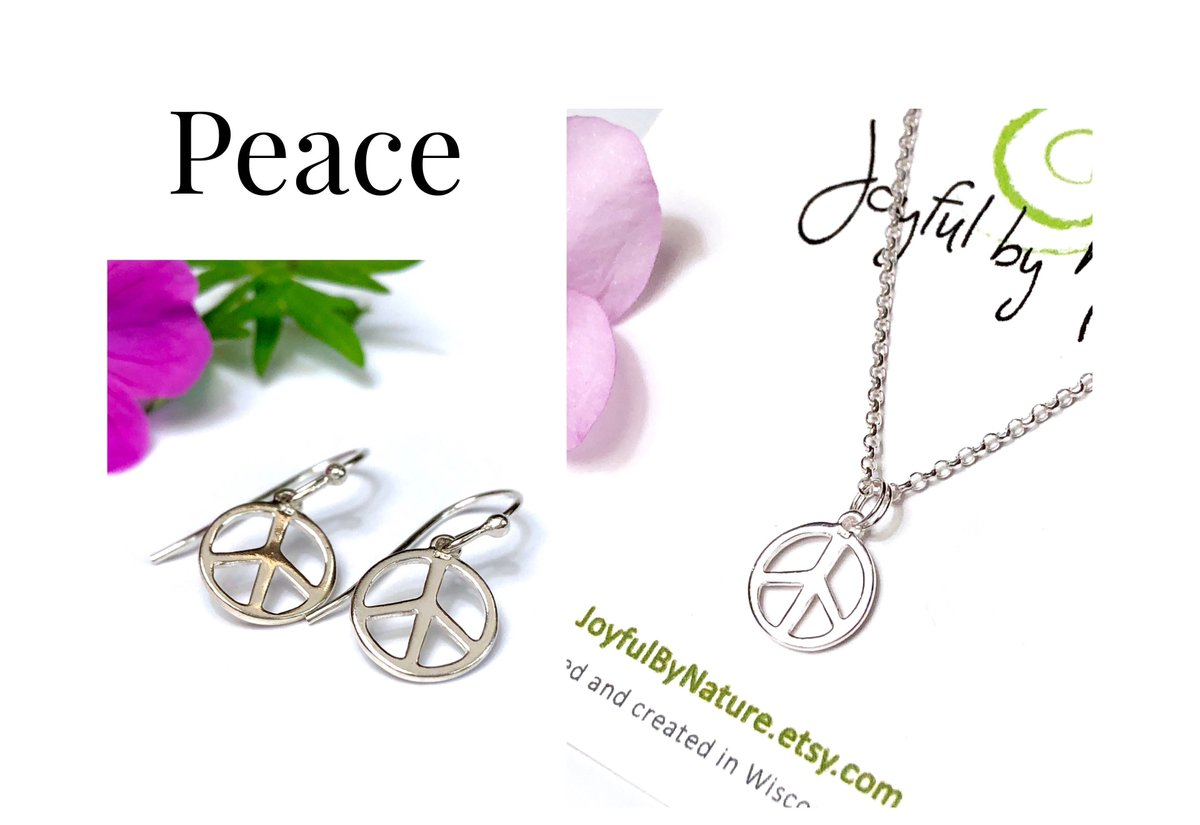 Peace—what the world needs now • Sterling Silver Peace Sign Earrings, Optional Necklace • Protest Jewelry  #etsymntt #peace #peaceful #inauguration #jewelry #gift