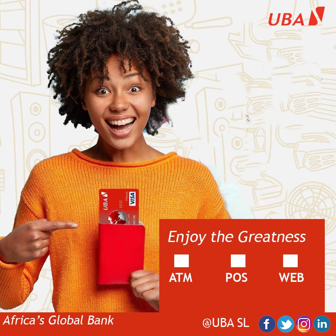 Enjoy the Greatness use UBA Prepaid Card!  #UBAPrepaidCard #ATM #POS #WEB #UBASierraLeone #AfricasGlobalBank