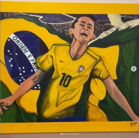 Vous en pensez quoi de ces peintures représentant des joueuses ? Ici, la Brésilienne Sissi et l'Américaine @brandichastain. Vous pouvez suivre l'artiste @kravsism_maria sur Instagram pour en voir davantage 😊 #womensoccer #paint #painting #sissi #brandichastain #USWNT #foot