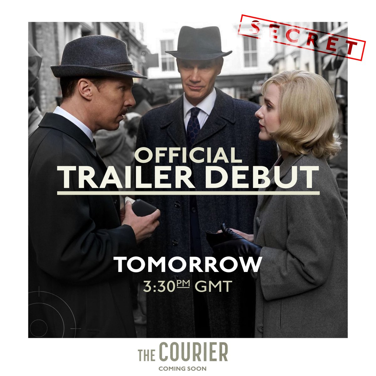 Replying to @LionsgateUK: 🚨 Classified information 🚨 #TheCourierMovie trailer, 3:30pm GMT tomorrow.