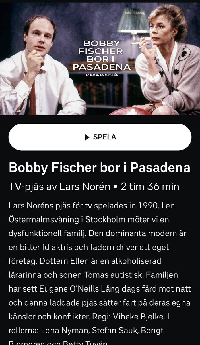 En av mina personliga favoriter av Lars Norén. Ligger på SVT PLAY. #tips!