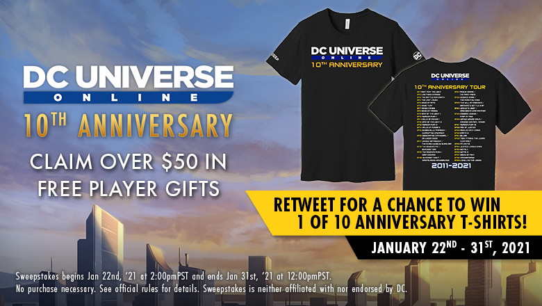 Log in to claim your #10thAnniversary gifts by 1/31! Plus retweet for your chance to win a commemorative DCUO T-Shirt IRL, too! #sweeps