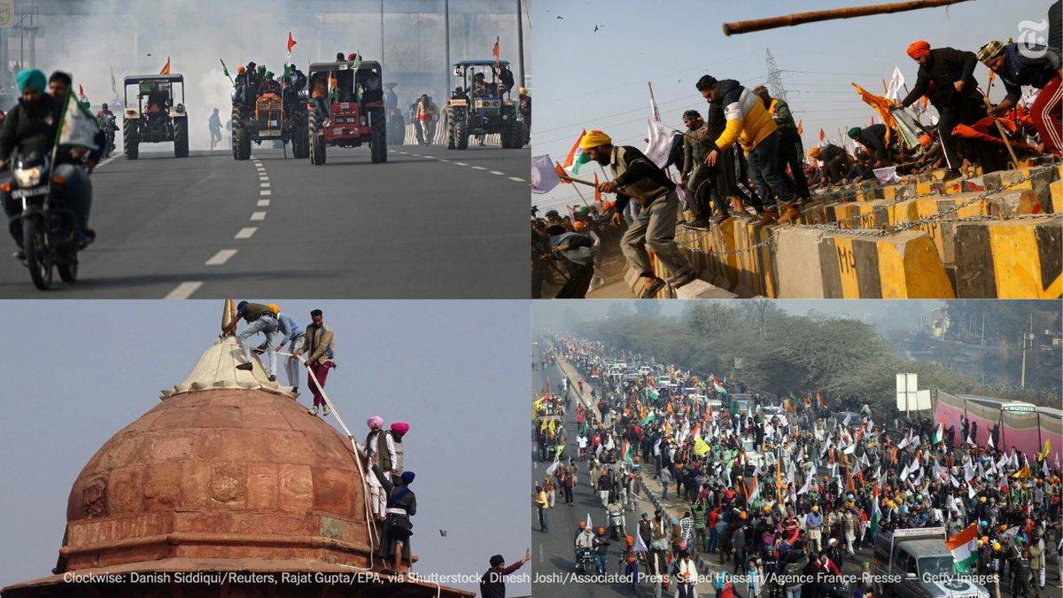 گاردین:هزاران کشاورز ، سوار بر #تراکتور  و حمل شمشیر و تبر ، در اعتراض به قوانین مزرعه داری نخست وزیر نارندرا #مودی به پایتخت #هند ریختند. پلیس با شلیک گاز اشک آور حداقل جان یک نفر گرفت. #أمريكا  #إسرائيل  #چین