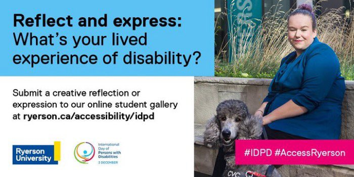 Ryerson students are invited to reflect and express: What's your lived experience of disability?   Submit a creative entry to our student gallery by Feb 1st!  Learn more about eligibility and rules at   #IDPD #AccessRyerson