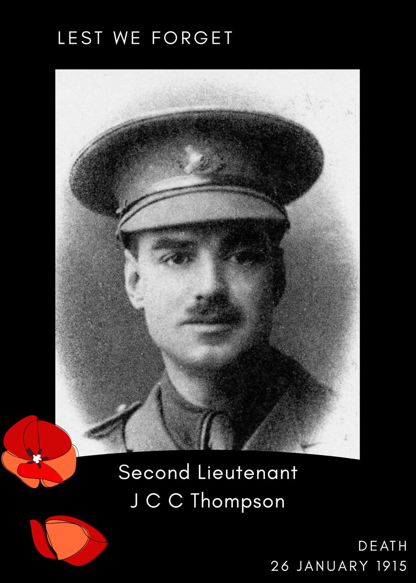 Remembering Second Lieutenant J C C Thompson 🇬🇧  28th Battalion, London Regiment (Artists Rifles), Attached to 1st Battalion, Scots Guards.  Death: 26 January 1915 Missing in action, Western Front  Retweet to help remember him 🇬🇧  #Lestweforget #Britisharmy  #Britishhistory