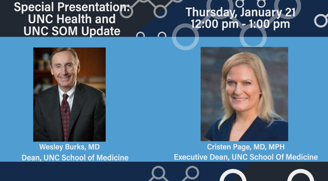 Join us for a special Medicine Grand Rounds presentation featuring @WesleyBurksMD & Dr. Cristen Page. Starting this Thursday at 12 noon. For WebEx coordinates, please contact noele_daniels@med.unc.edu #MedEd #ThursdayThoughts