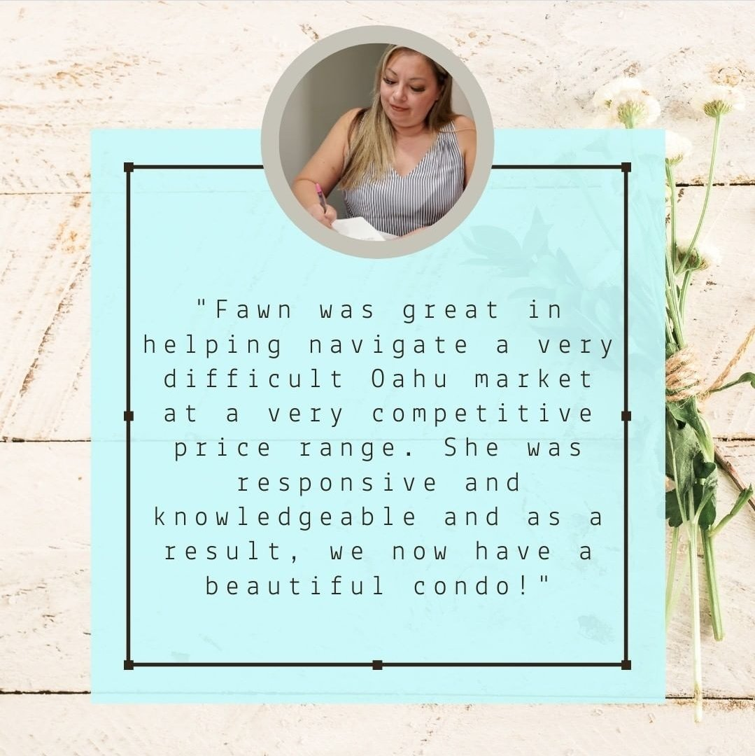 """""""Fawn was great in helping navigate a very difficult Oahu market at a very competitive price range. She was responsive and knowledgeable and as a result, we now have a beautiful condo!"""" #tuesdayvibe #tuesdaymotivations #Oahu #Hawaii"""