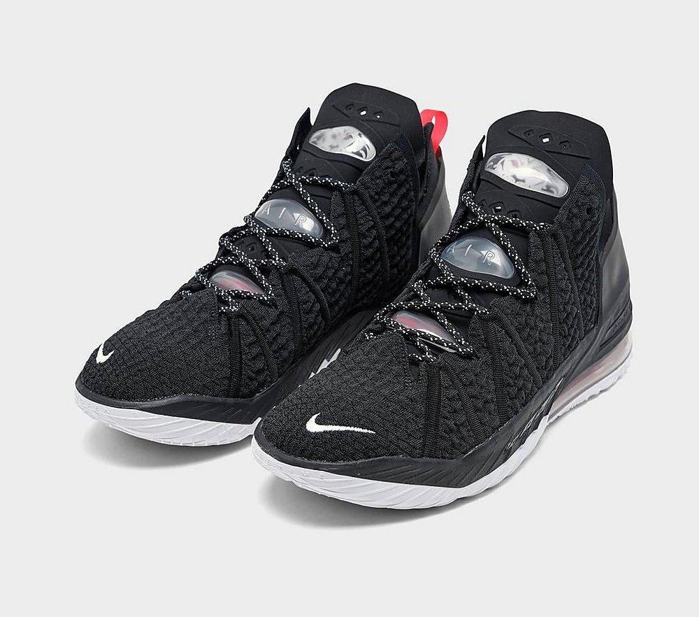 #ad The Nike LeBron 18 'Black/White/University Red' is now available via @FinishLine! |$200| #SneakerScouts @KingJames @Nike