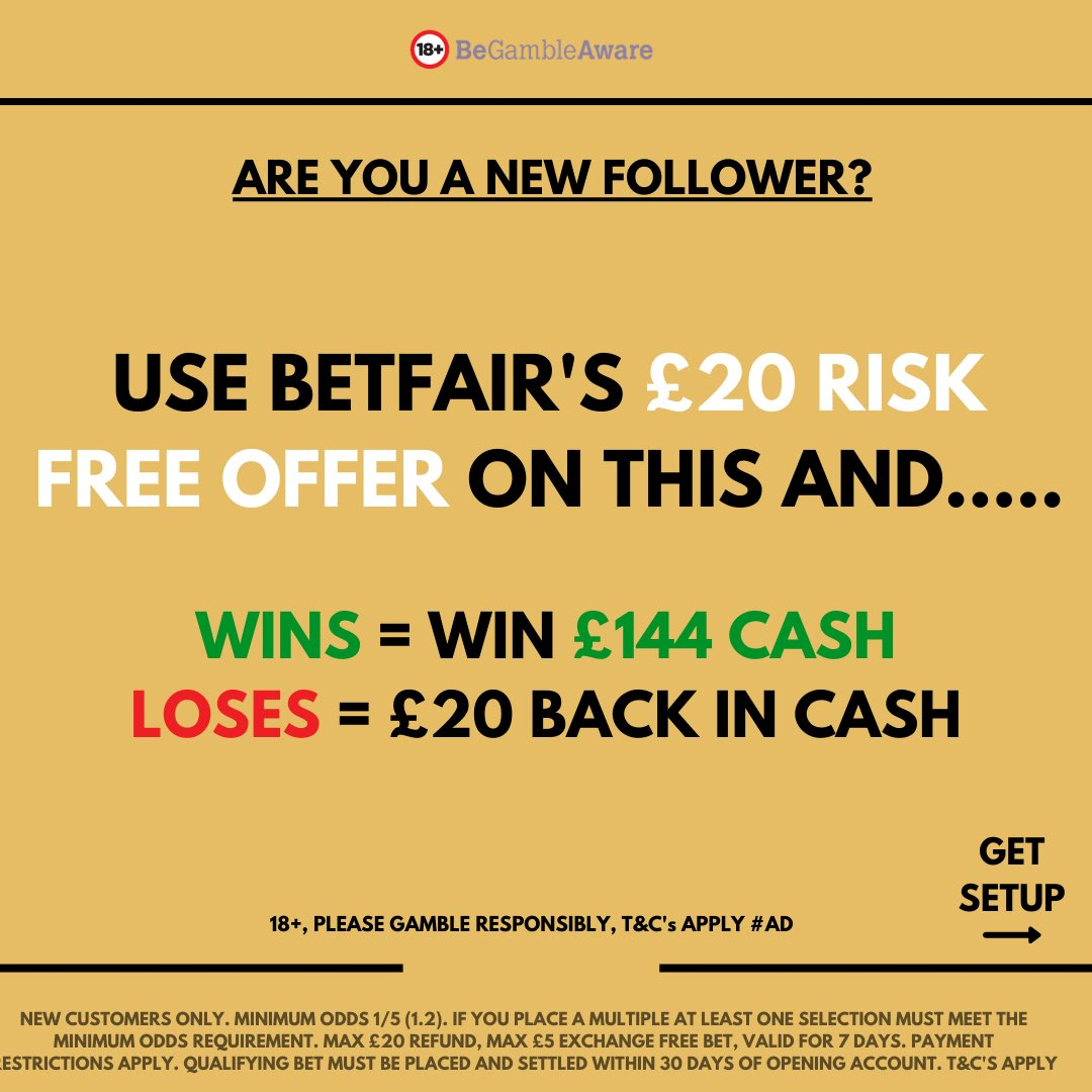 🎁 PLACE THIS ACCA RISK FREE! 🆓  Create a Betfair account using the link below to claim a £20 risk free first bet.  Join here ➡️   ✅ £144 if it wins ✅ £20 cash back if it loses   18+, Gamble Responsibly, T&Cs Apply, #Ad