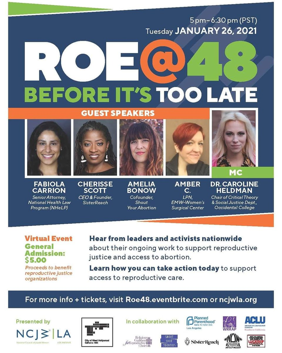 Join us tonight at 7pmCST with the National Council of Jewish Women - Los Angeles, to discuss Roe v. Wade, 48 years later, and where our work is to ensure that people have access to the reproductive health care they need or want. More details in the flyer. #reimagineroe