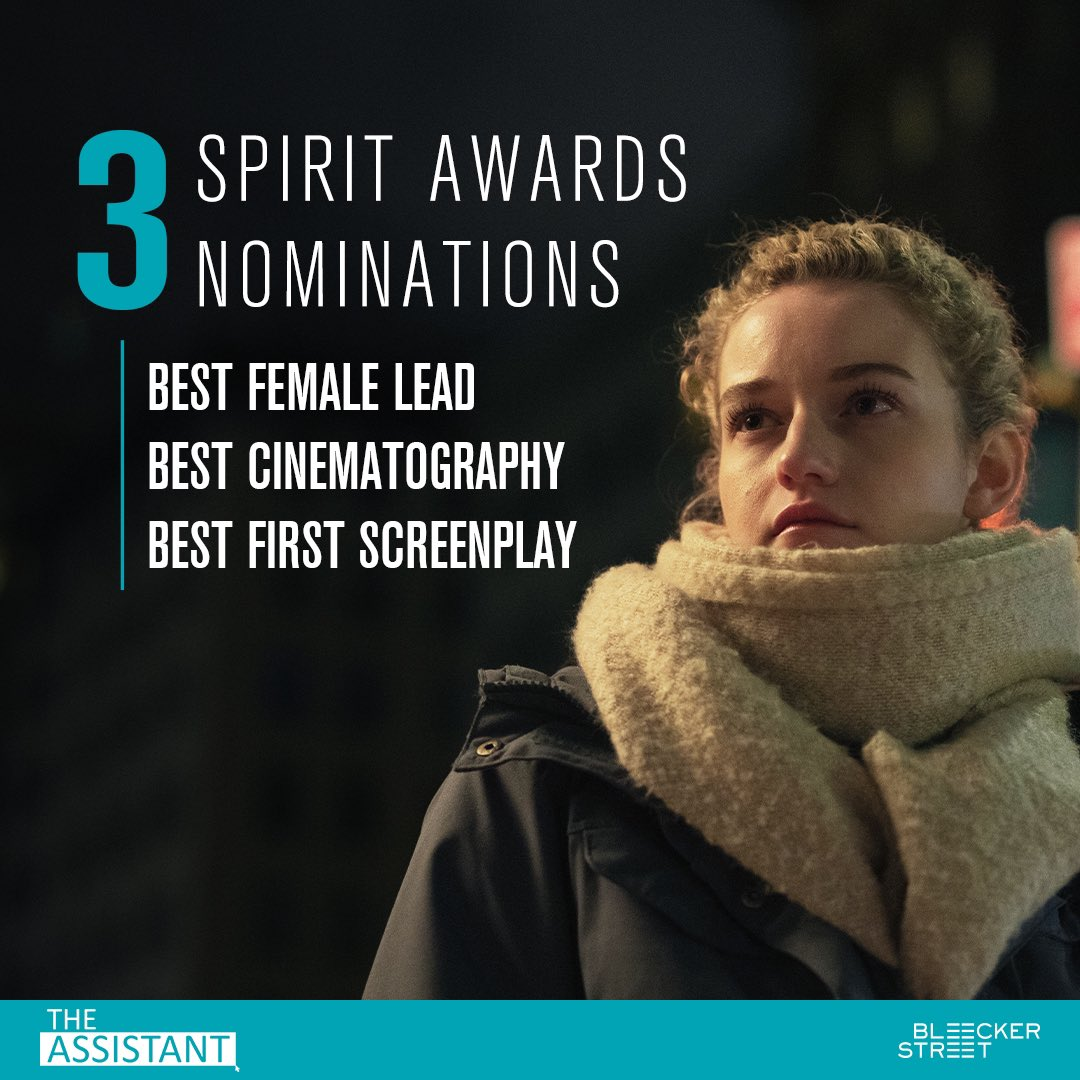 We're thrilled #TheAssistant has nabbed three Spirit Award nominations - including Best First Screenplay, Best Cinematography, and Best Female Lead for Julia Garner! Congrats to the entire cast and crew! 🎉✨  #SpiritAwards #JuliaGarner #FilmIndependent #Nominations